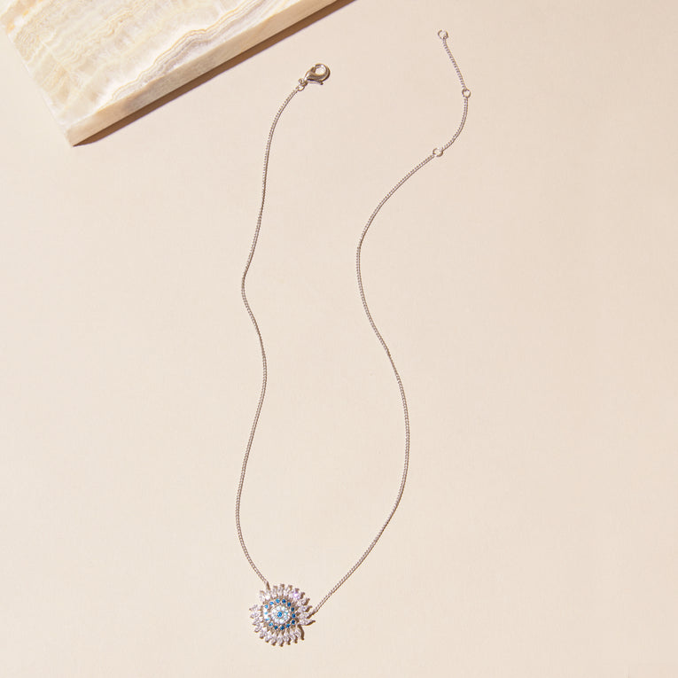 Crystal Eye Necklace Silver Blue