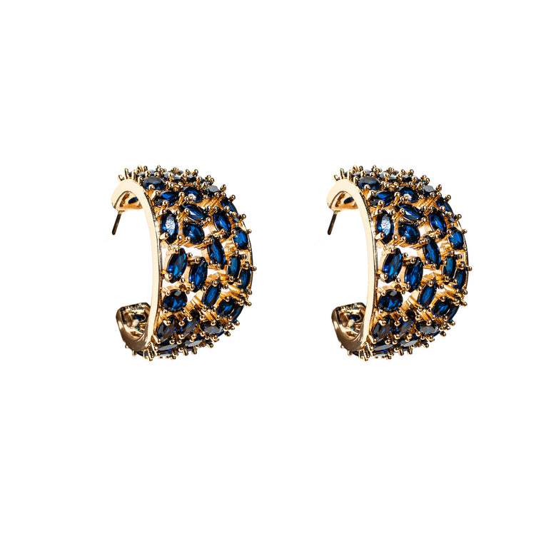 Mignonne Gavigan Crystal Kaya Hoop Earrings Navy