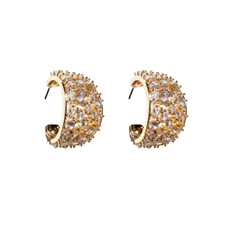 Mignonne Gavigan Crystal Kaya Hoop Earrings White Gold