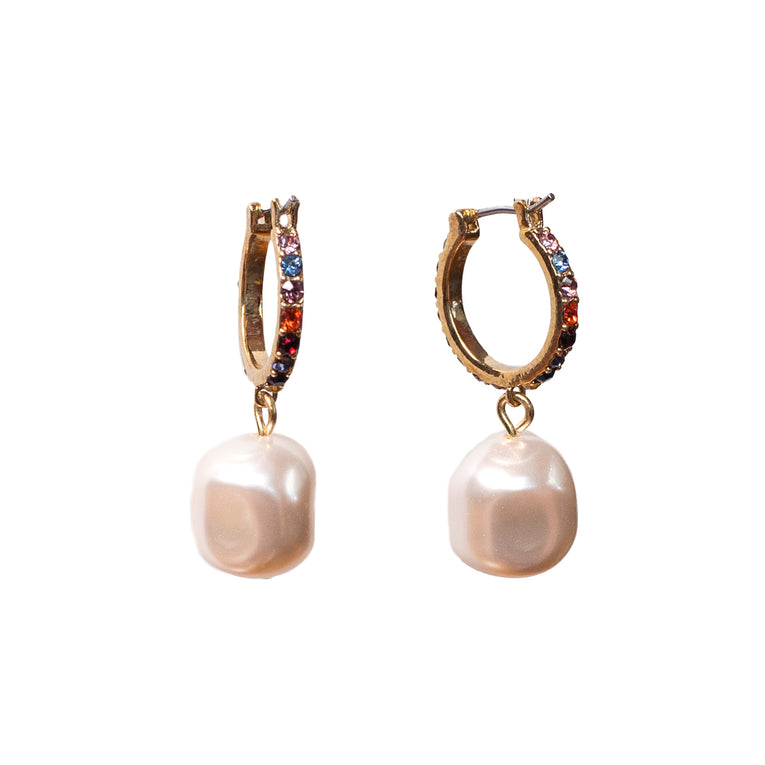 Mignonne Gavigan Crystal Pearl Huggie Hoop Earrings Multi