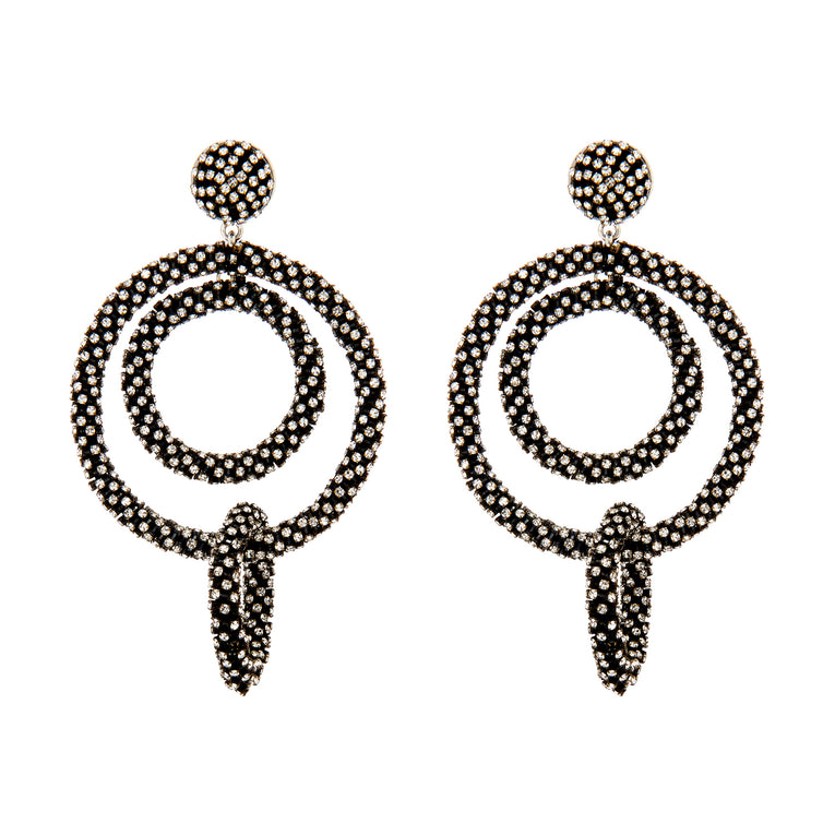 Mignonne Gavigan Crystal Tallulah Earrings Black Silver