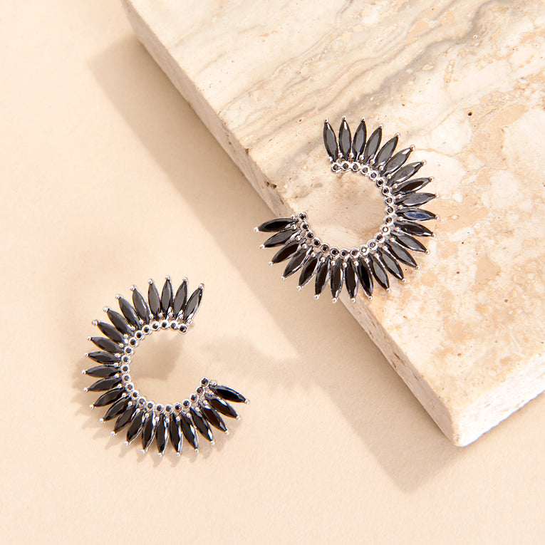Mignonne Gavigan Crystal Madeline Hoop Earrings in black