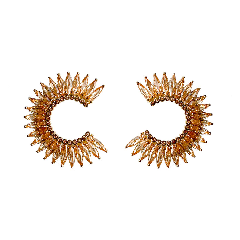 Mignonne Gavigan Crystal Madeline Hoop Earrings in champagne