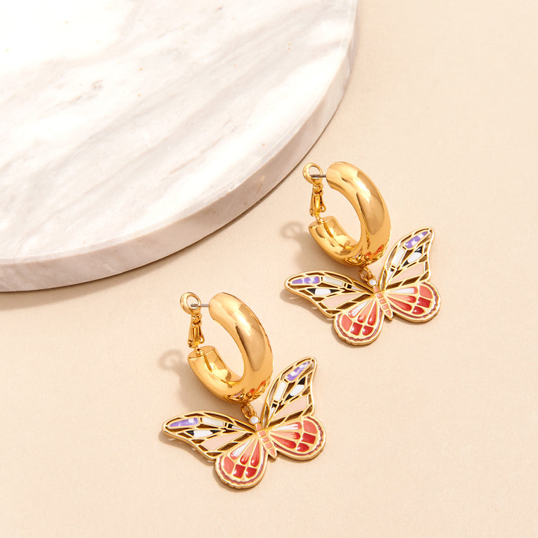 Mignonne Gavigan Butterfly Dangle Hoop Earrings Red Multi