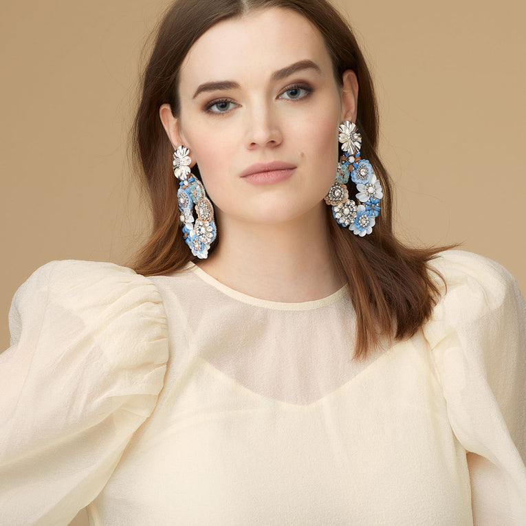 Elyse Earrings in Light Blue