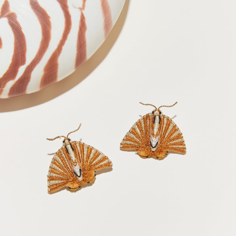 Fan Moth Earrings Gold