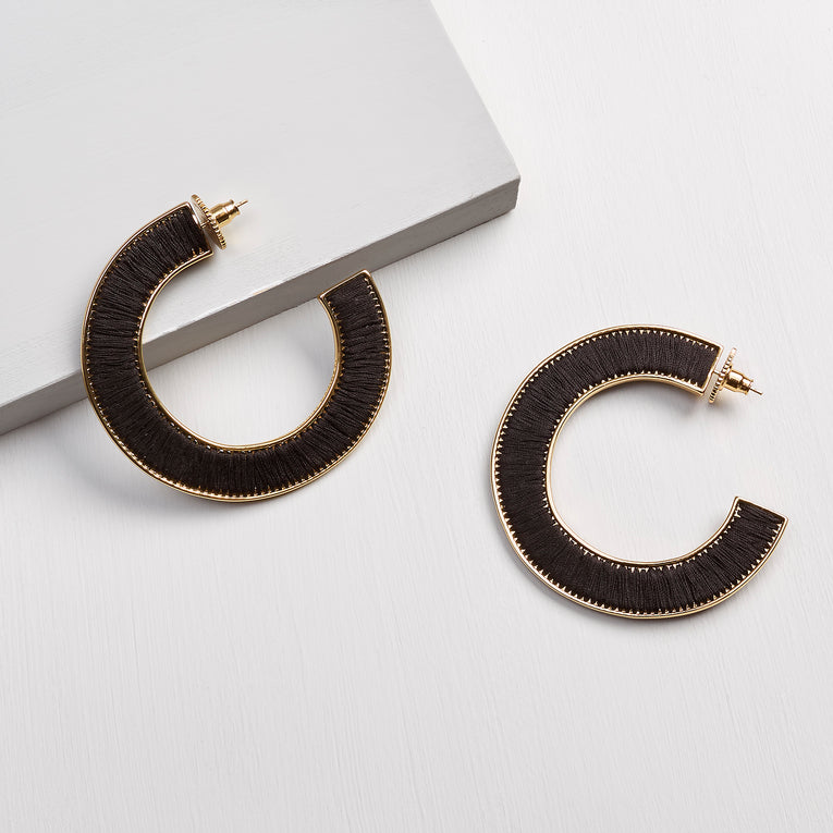 Mignonne Gavigan Fiona Hoop Earrings in black gold color