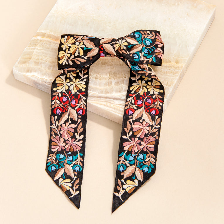 Mignonne Gavigan Flora Bow Hair Clip in black multi color