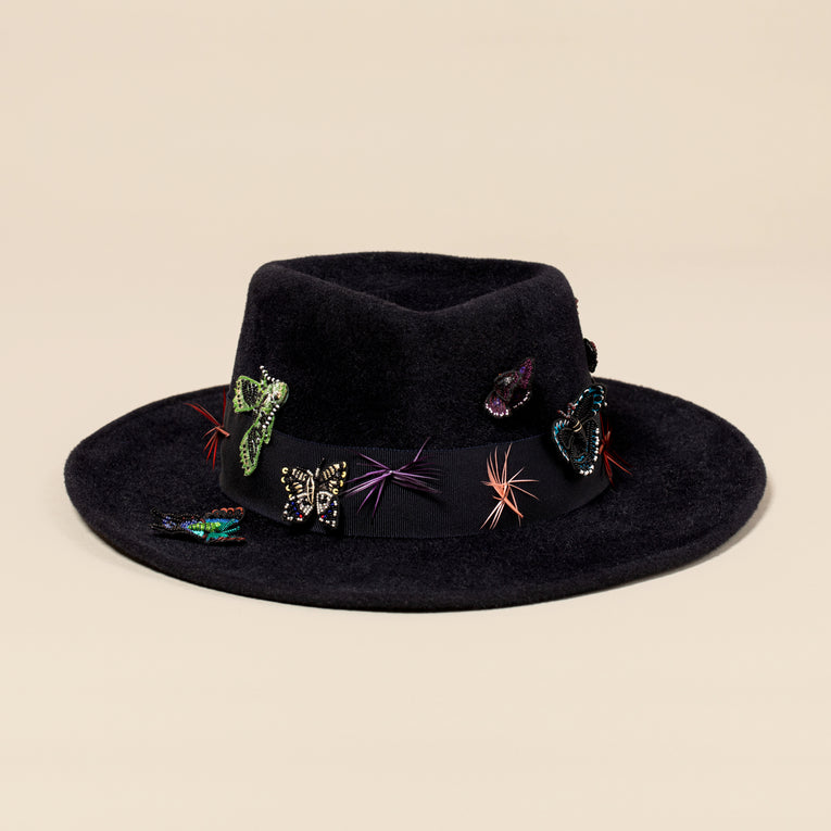 MG x Gigi Burris Almond Fedora Hat Midnight Rider Multi