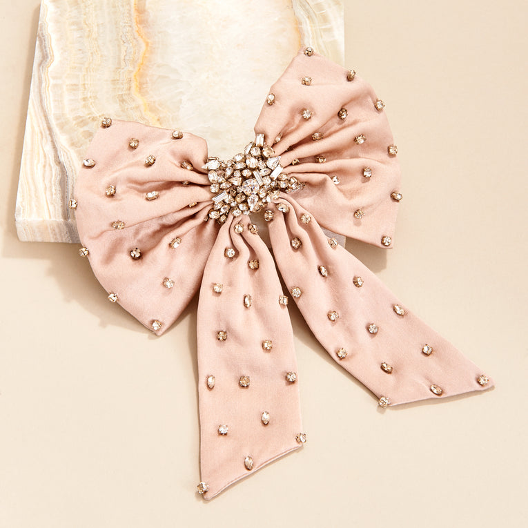 Mignonne Gavigan Grace Crystal Bow Hair Clip in neutral color