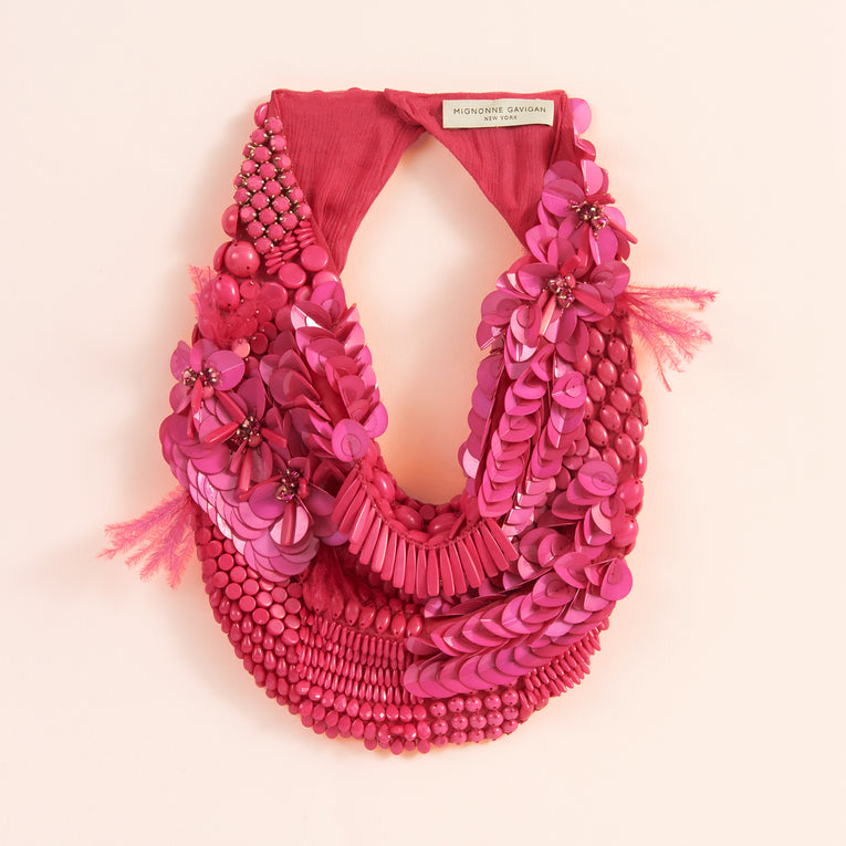 Mignonne Gavigan Haley Scarf Necklace in pink color