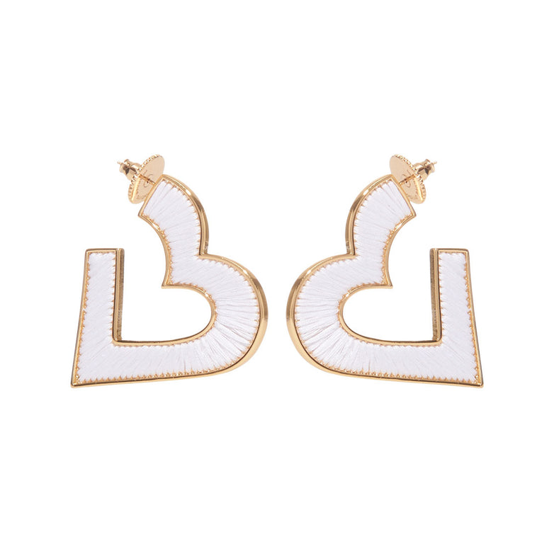 Heart Fiona Hoop Earrings White Gold