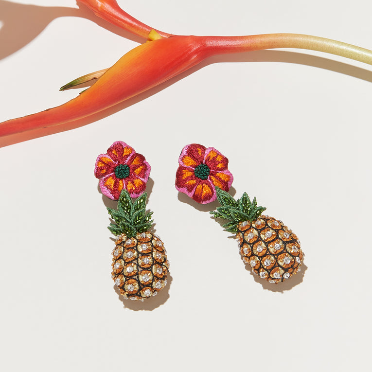 Hibiscus Dangle Earrings Red Multi