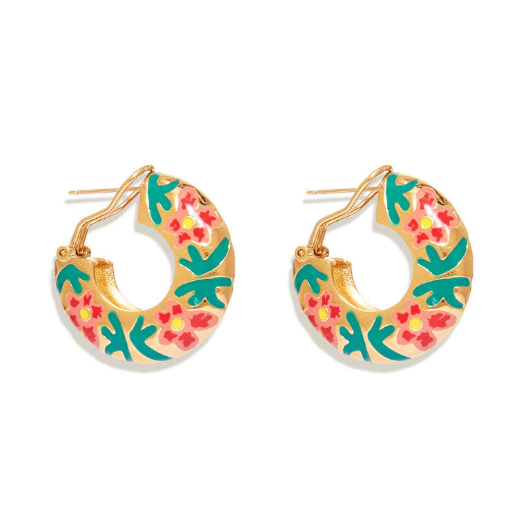 Hibiscus Flora Hoop Earrings Gold
