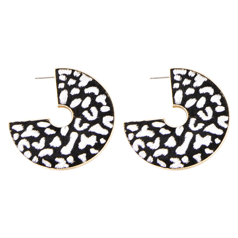 Leopard Hoop Earrings Black/White