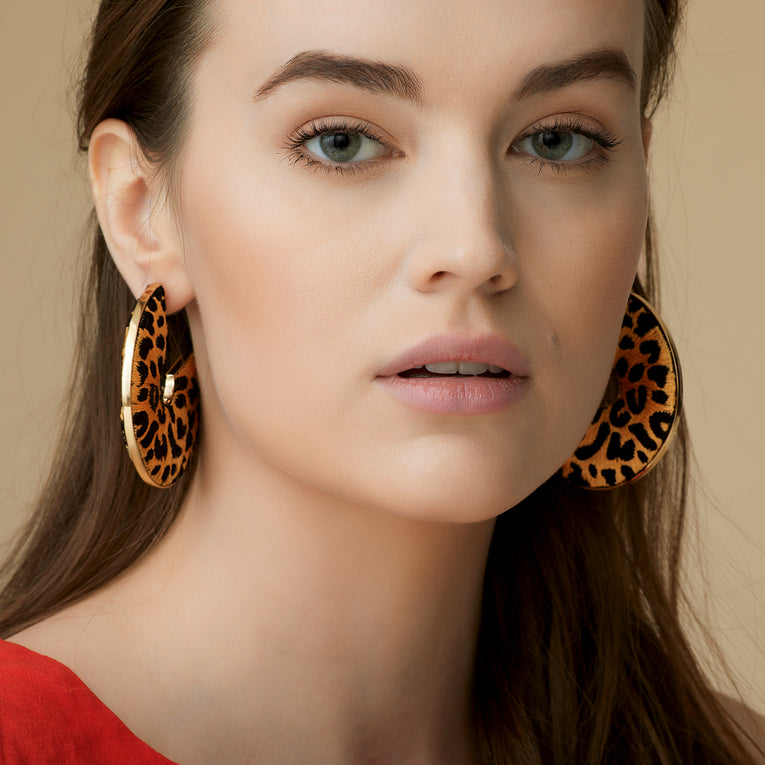 Mignonne Gavigan Leopard Mega Hoop Earrings in nude black