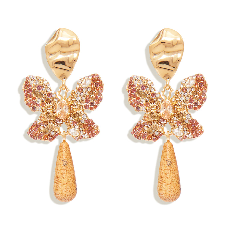 Louisa Butterfly Earrings Gold Brown