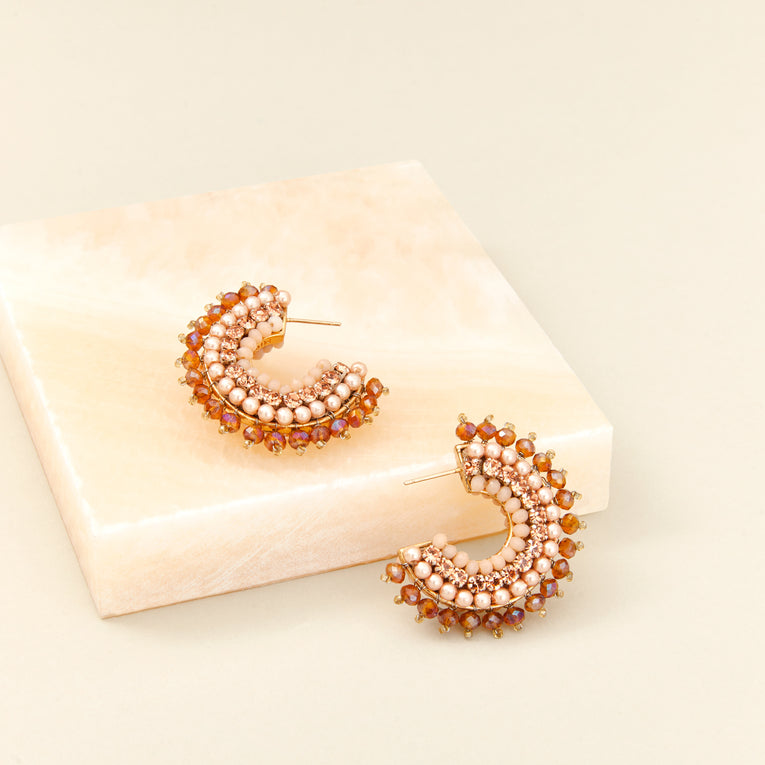 Mignonne Gaivgan Mini Luca Hoop Earrings in rose gold color