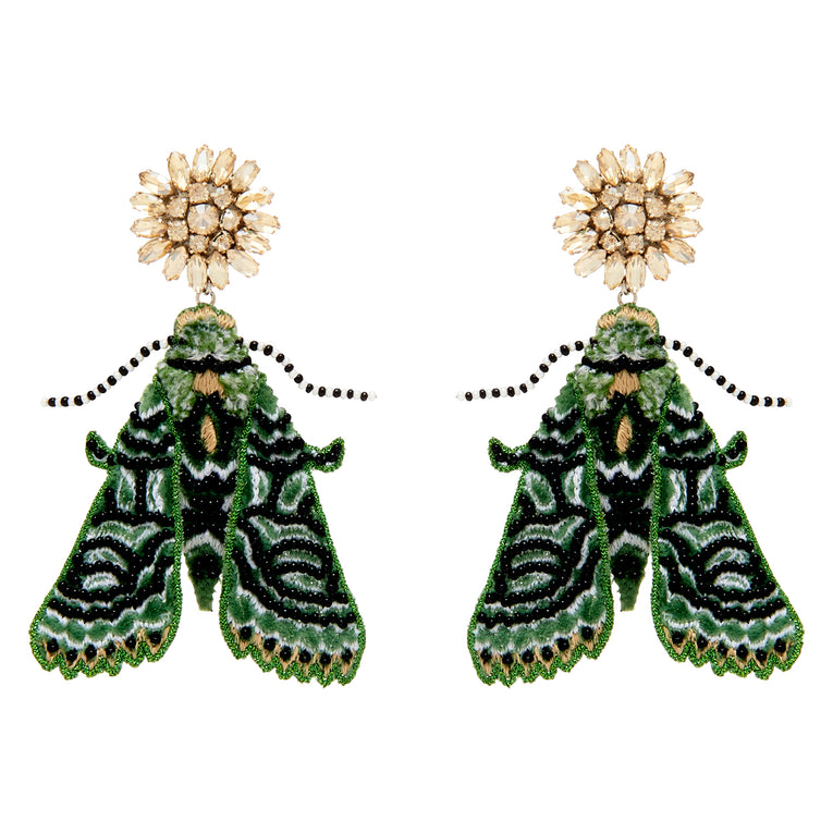 Mignonne Gavigan Lux Moth Earrings Emerald