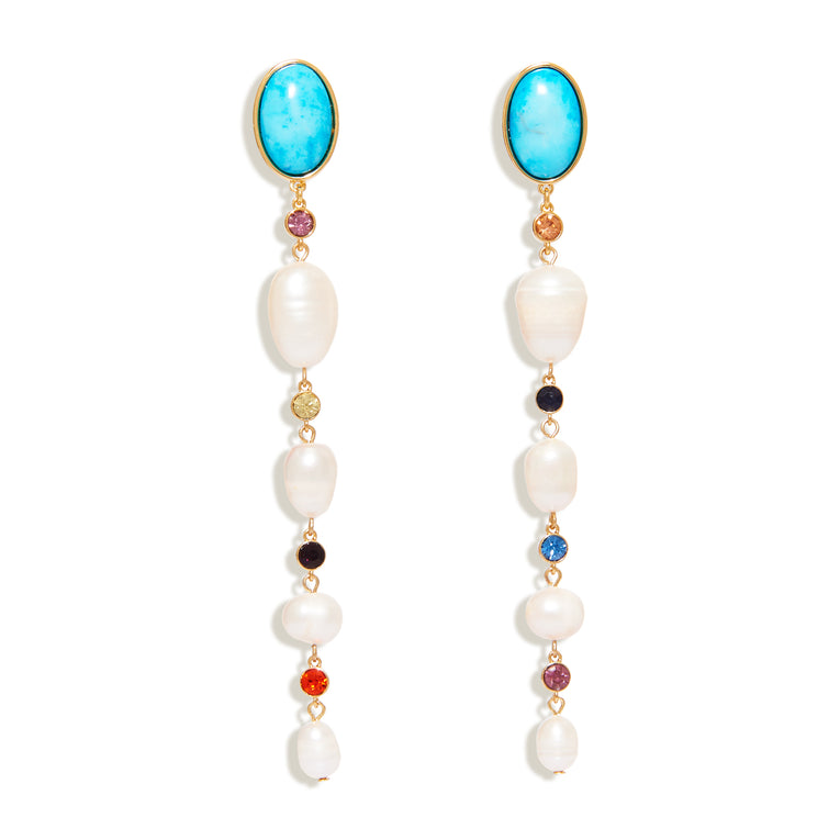 Lyford Mixed Rainbow Pearl Turquoise Dangle Earrings