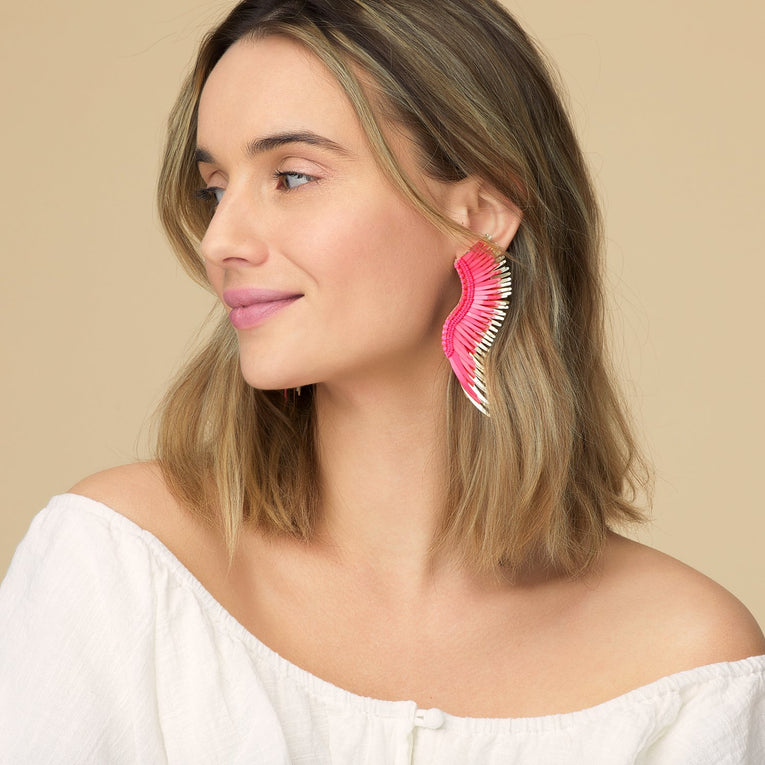Mignonne Gavigan Madeline Earrings in hot pink color