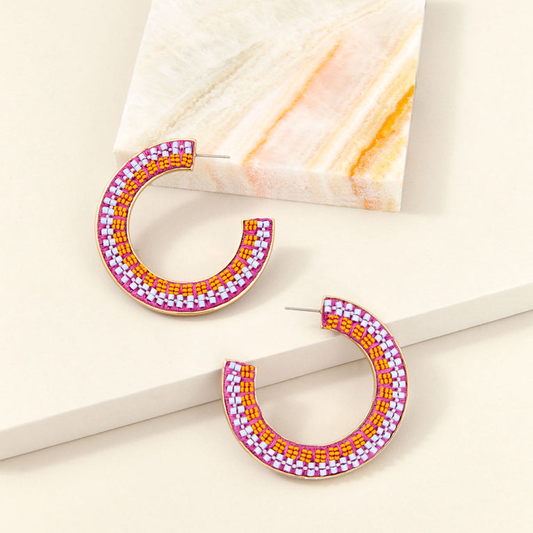Mariana Hoop Earrings in Orange Blue