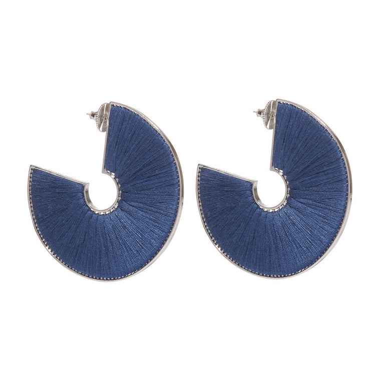 Mignonne Gavigan Mega Fiona Hoop Earrings in blue color and silver hardware