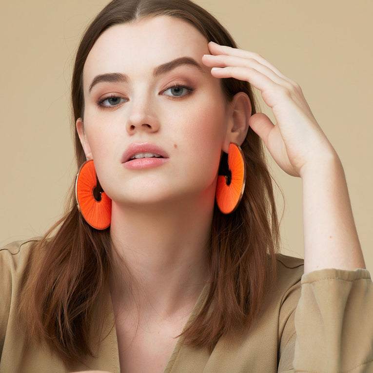 Mega Fiona Hoop Earrings Neon Orange
