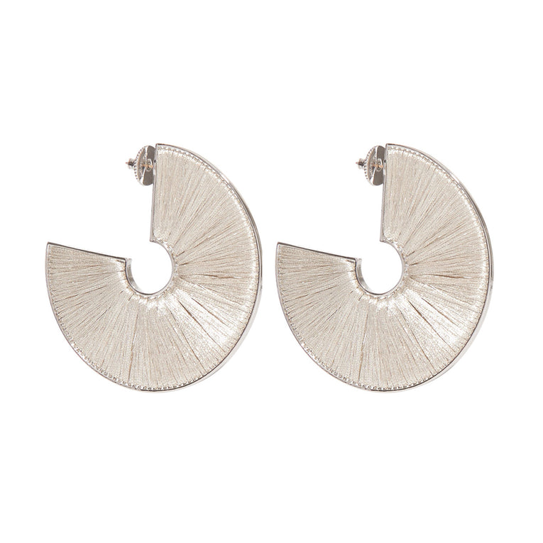 Mega Fiona Hoop Earrings Silver