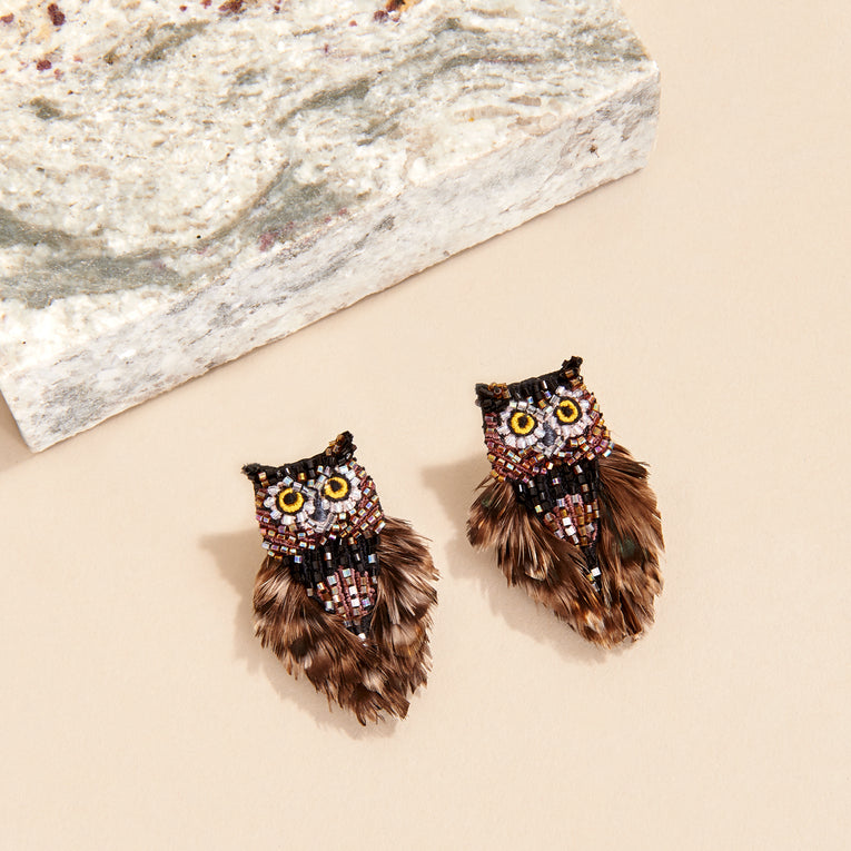 Mignonne Gavigan Mini Brown Owl Earrings