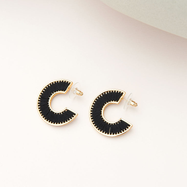 Mini Fiona Hoops Black/Gold