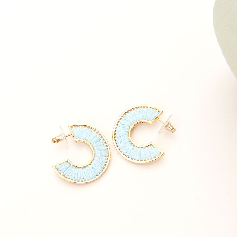 Mignonne Gavigan Mini Fiona Hoop Earrings in light blue color