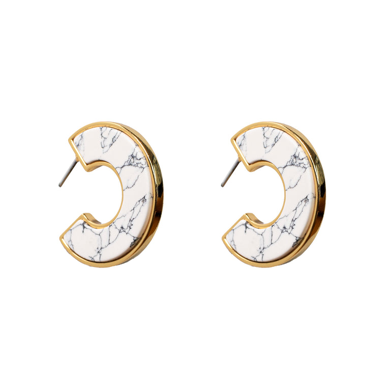 Mignonne Gavigan Mini Fiona Hoop Earrings White Resin