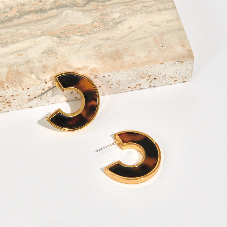 Mignonne Gavigan Mini Fiona Hoop Earrings Resin Brown