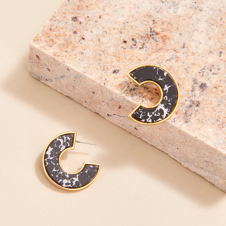 Mignonne Gavigan Mini Fiona Hoop Earrings Black Resin
