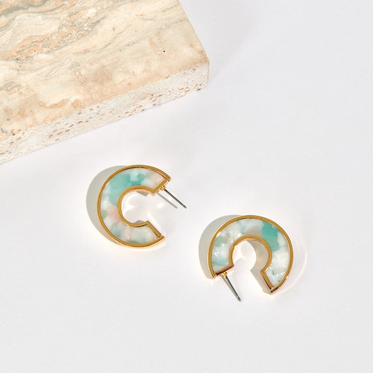 Mignonne Gavigan Mini Fiona Hoop Earrings Resin Mint