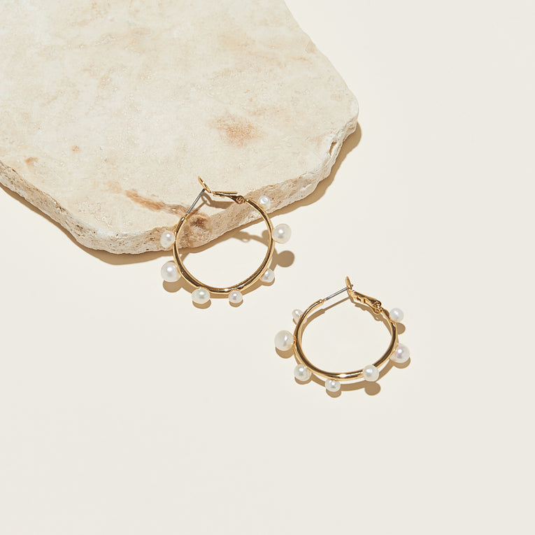Mini Isla Pearl Hoop Earrings White Gold