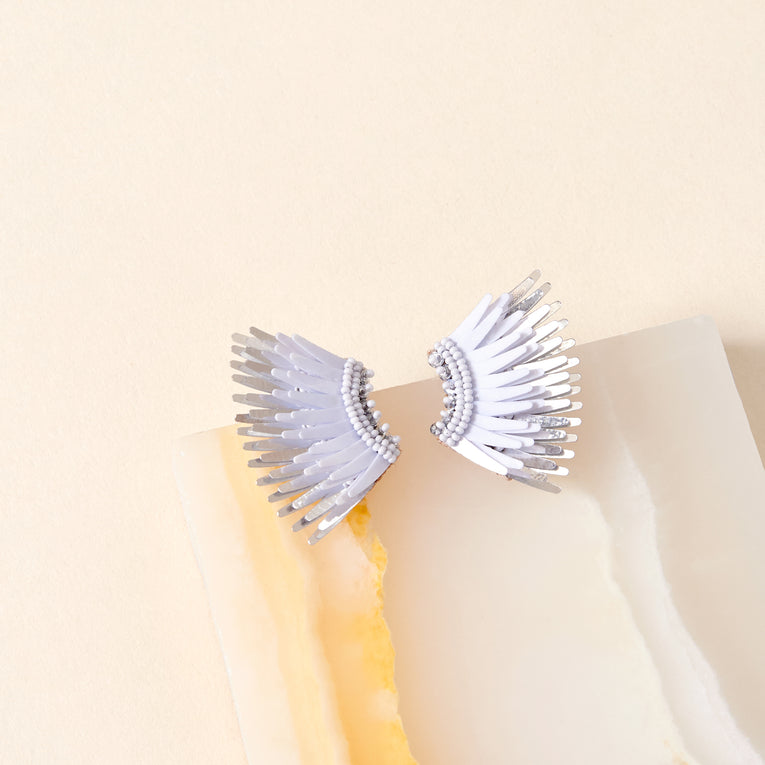 Mini Madeline Earrings in light blue and silver color