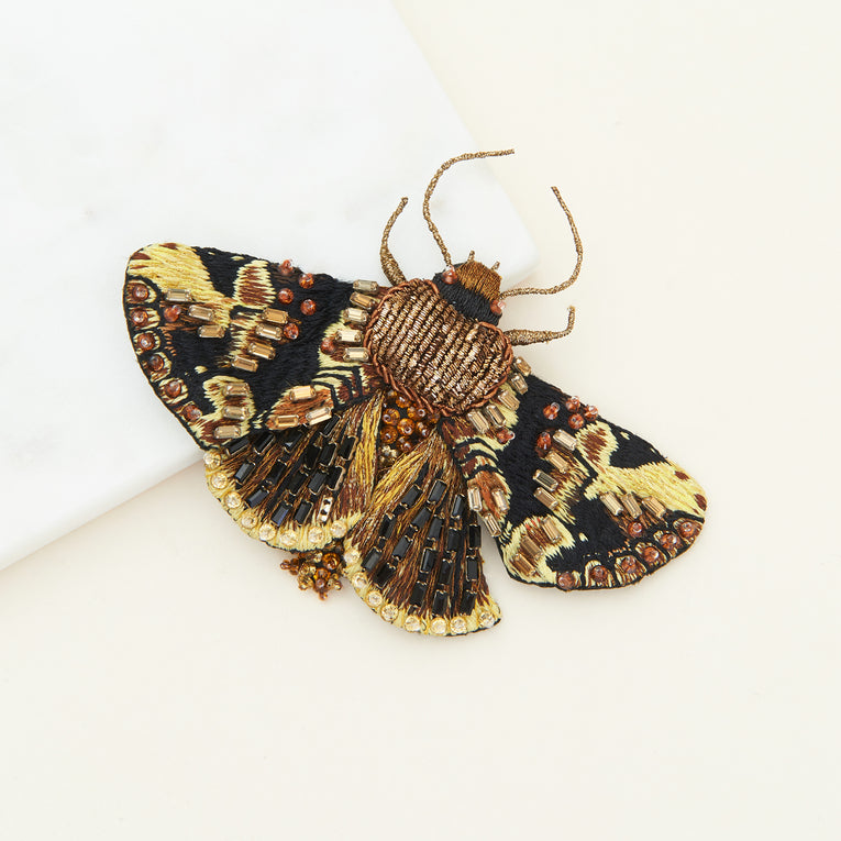 Lux Moth Brooch Bronze