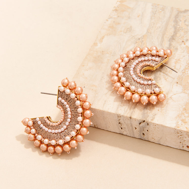 Mignonne Gavigan Mini Pearl Fiona Hoop Earrings Rose Gold