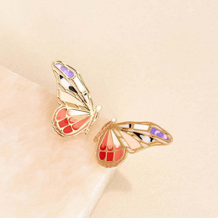 Mignonne Gavigan Mixed Butterfly Stud Earrings Red Multi