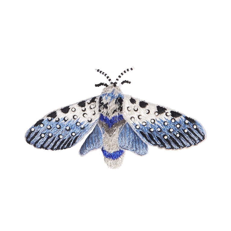 Mignonne Gavigan Moth Brooch in light blue color