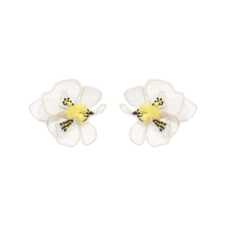 Orchid Stud Earrings White