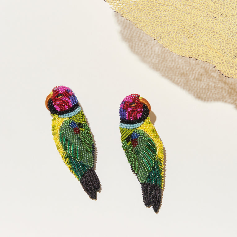 Parrot Earrings Green Multi