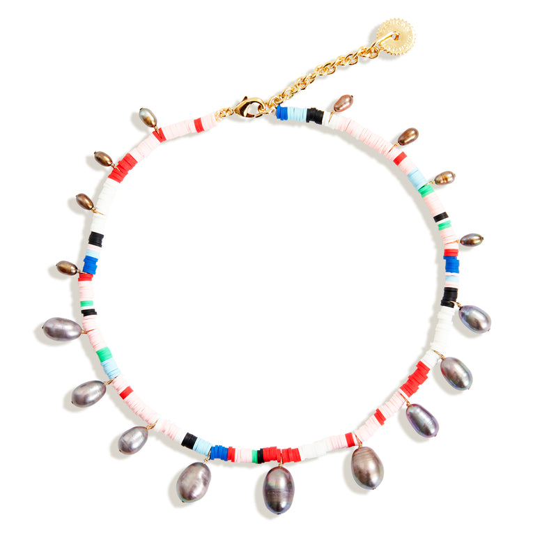 Pearl and Bead Necklace Multi