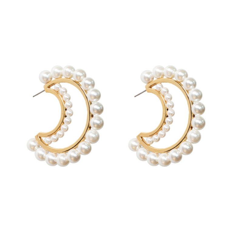 Mignonne Gavigan Pearl Sola Hoop Earrings Cream