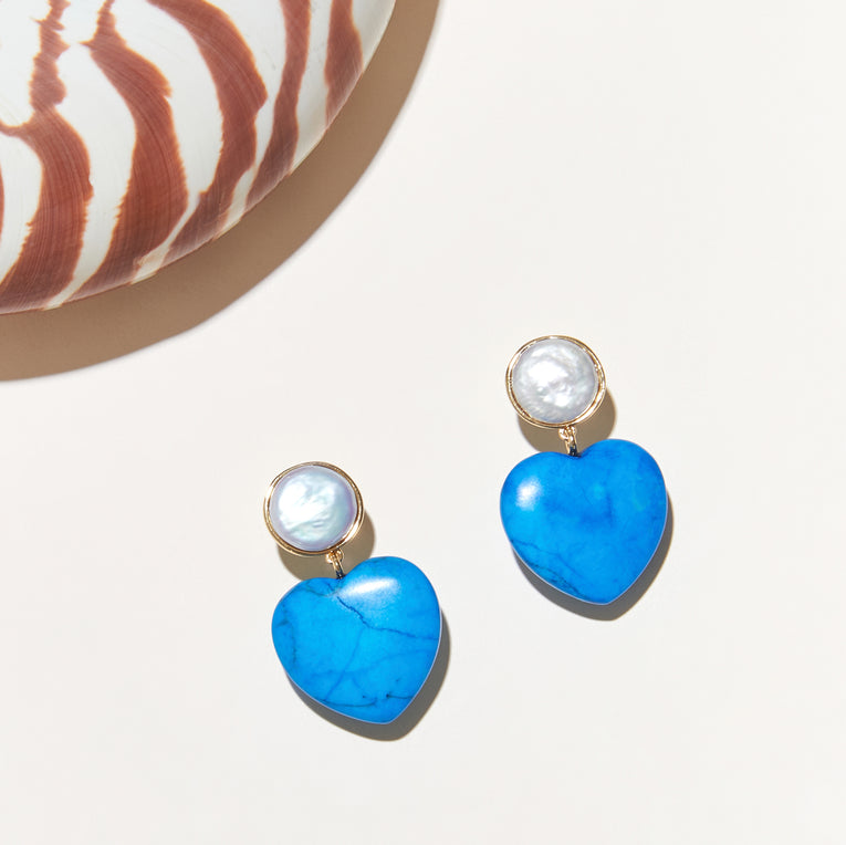 Raeni Pearl Earrings Turquoise