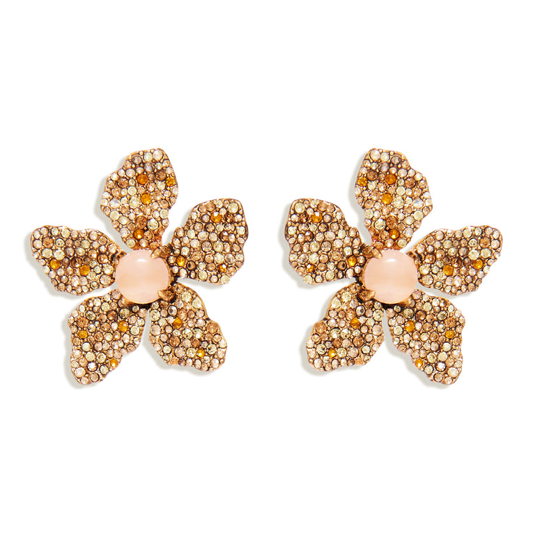 Rose Pave Earrings Champagne Gold