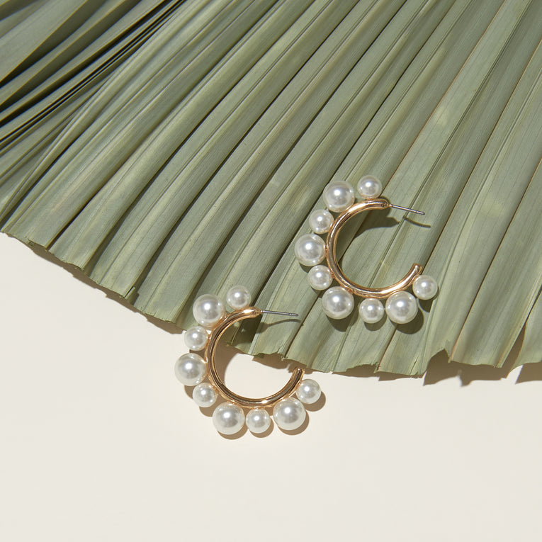 Sara Pearl Hoop Earrings White Gold