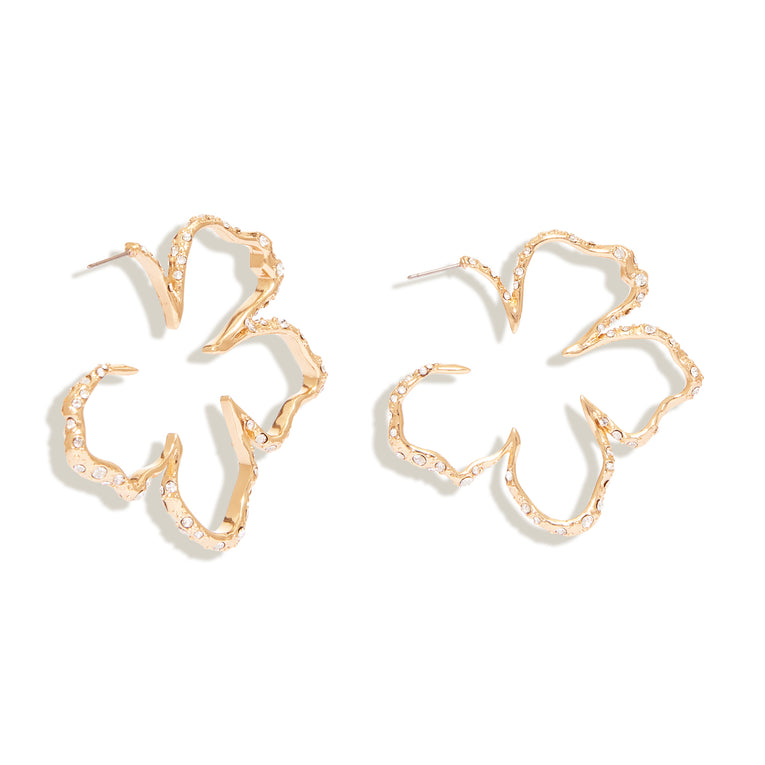 Mini Simone Sculptural Floral Hoop Earrings Gold